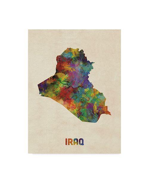 "Trademark Global Michael Tompsett Iraq Watercolor Map Canvas Art - 37"" x 49"""