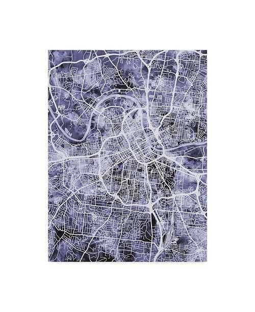 "Trademark Global Michael Tompsett Nashville Tennessee City Map Blue Canvas Art - 20"" x 25"""