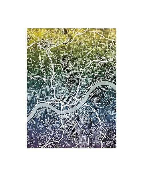 "Trademark Global Michael Tompsett Cincinnati Ohio City Map Blue Yellow Canvas Art - 37"" x 49"""