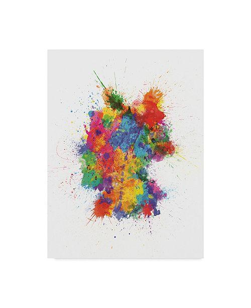 "Trademark Global Michael Tompsett Germany Paint Splashes Map Canvas Art - 37"" x 49"""
