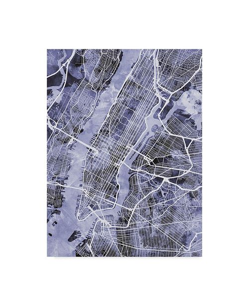 "Trademark Global Michael Tompsett New York City Street Map Blue Canvas Art - 20"" x 25"""