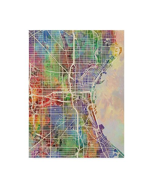 "Trademark Global Michael Tompsett Milwaukee Wisconsin City Watercolor Map Canvas Art - 37"" x 49"""