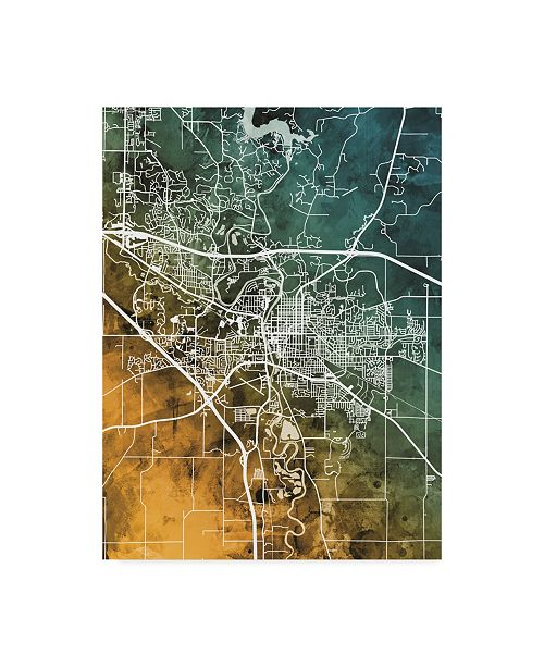 "Trademark Global Michael Tompsett Iowa City Map Teal Orange Canvas Art - 20"" x 25"""