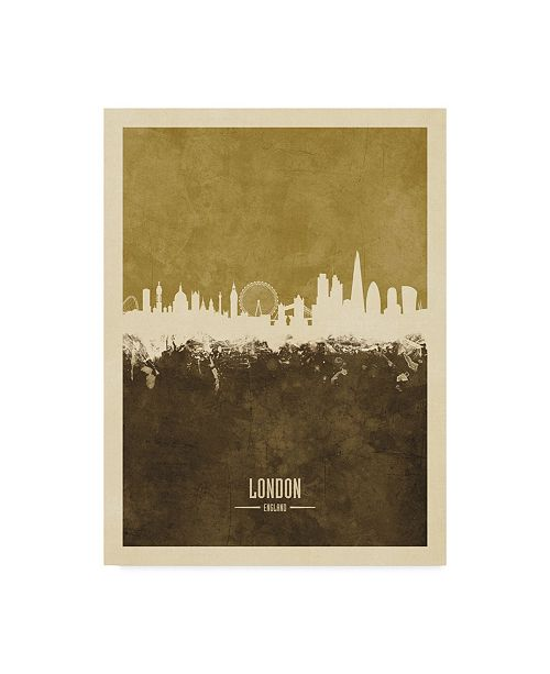"Trademark Global Michael Tompsett London England Skyline Brown Canvas Art - 37"" x 49"""