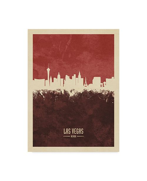 "Trademark Global Michael Tompsett Las Vegas Nevada Skyline Red II Canvas Art - 37"" x 49"""