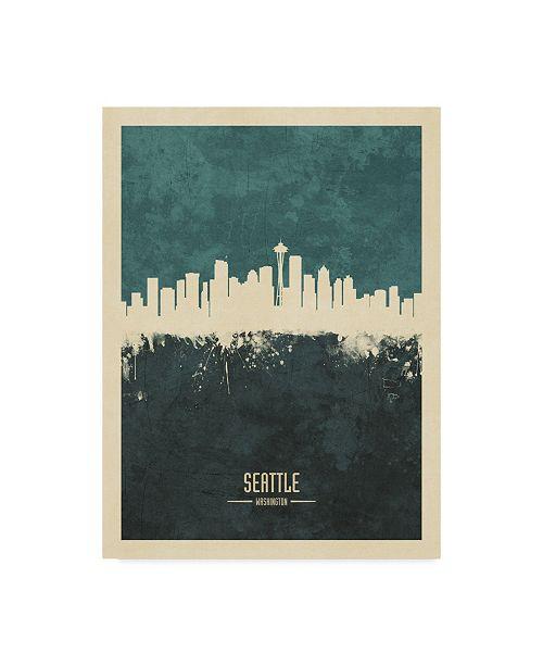 "Trademark Global Michael Tompsett Seattle Washington Skyline Teal Canvas Art - 37"" x 49"""