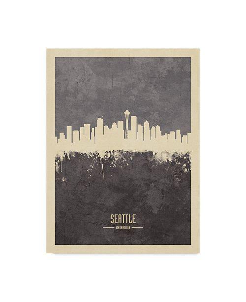 """Trademark Global Michael Tompsett Seattle Washington Skyline Gray Canvas Art - 20"""" x 25"""""""