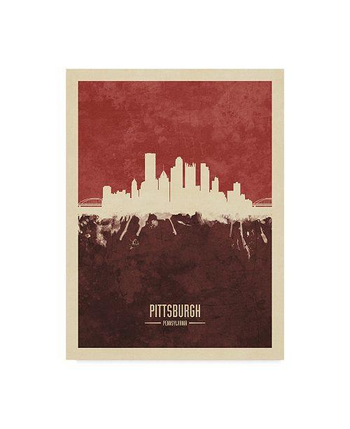"Trademark Global Michael Tompsett Pittsburgh Pennsylvania Skyline Red II Canvas Art - 37"" x 49"""