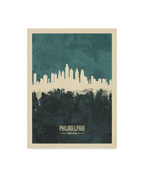 "Trademark Global Michael Tompsett Philadelphia Pennsylvania Skyline Teal Canvas Art - 20"" x 25"""
