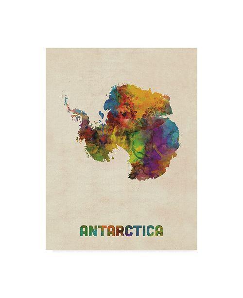 "Trademark Global Michael Tompsett Antarctica Watercolor Map Canvas Art - 37"" x 49"""