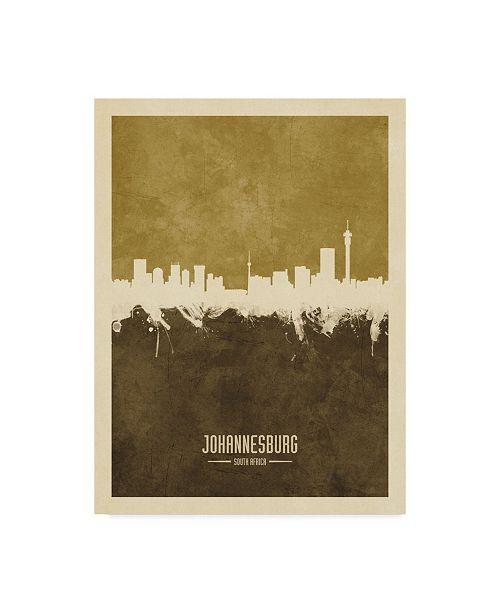 "Trademark Global Michael Tompsett Johannesburg South Africa Skyline Brown Canvas Art - 20"" x 25"""