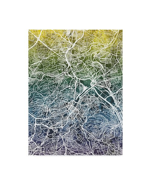 "Trademark Global Michael Tompsett Stuttgart Germany City Map Blue Yellow Canvas Art - 37"" x 49"""