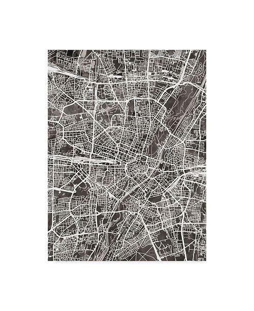 "Trademark Global Michael Tompsett Munich Germany City Map Black Canvas Art - 20"" x 25"""