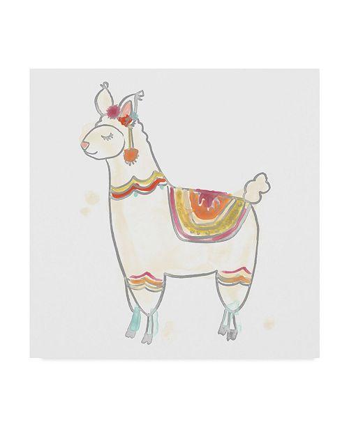 "Trademark Global June Erica Vess Block Print Llama II Canvas Art - 27"" x 33"""