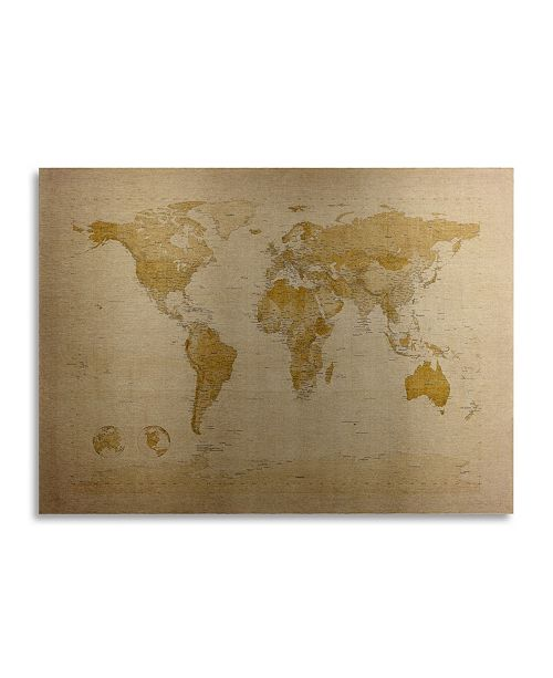 "Trademark Global Michael Tompsett Antique World Map Floating Brushed Aluminum Art - 22"" x 25"""