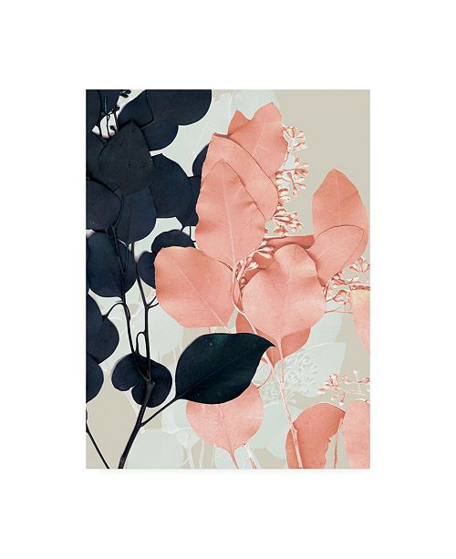 "Trademark Global Jennifer Goldberger Indigo and Blush Leaves II Canvas Art - 20"" x 25"""