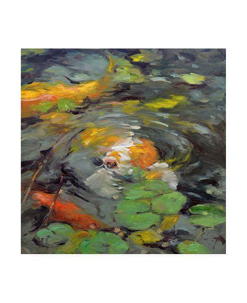 "Trademark Global Chuck Larivey Golden Koi Swimming Canvas Art - 20"" x 25"""