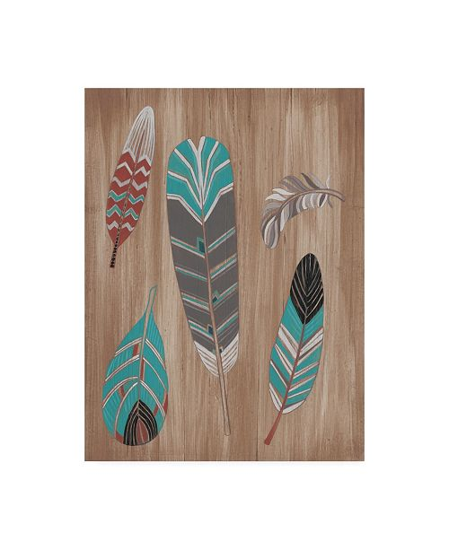 "Trademark Global June Erica Vess Driftwood Feathers I Canvas Art - 37"" x 49"""