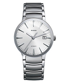 Rado Watch, Men's Swiss Automatic Centrix Stainless Steel Bracelet 38mm R30939103