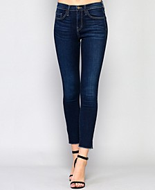 High Rise Side Slit Raw Hem Skinny Jeans