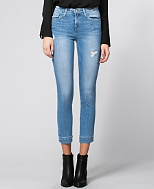 Flying Monkey Mid Rise Trouser Hem Slim Crop Skinny Jeans