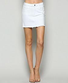 High Rise Raw Hem Jean Skirt