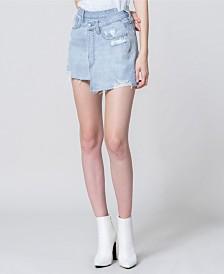 Vervet High Rise Mini Wrap Jean Skirt