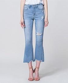 High Rise Uneven Hem Crop Flare Jeans
