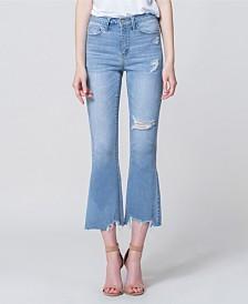 Vervet High Rise Uneven Hem Crop Flare Jeans