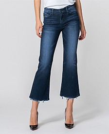 Flying Monkey Mid Rise Distressed Hem Crop Flare Jeans