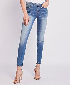 Flying Monkey Mid Rise Raw Hem Ankle Skinny Jeans