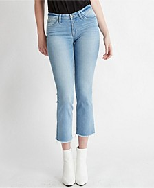 Mid Rise Seamless Waistband Slim Crop Straight Jeans