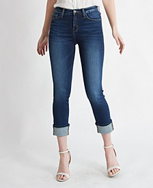 High Rise Single Cuffed Slim Crop Straight Jeans