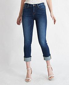Flying Monkey High Rise Single Cuffed Slim Crop Straight Jeans
