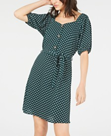 Monteau Petite Printed Puff-Sleeve Dress