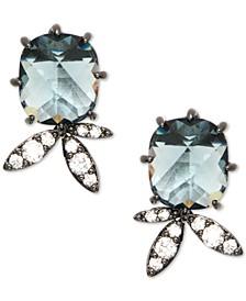 Hematite-Tone Crystal & Stone Stud Earrings