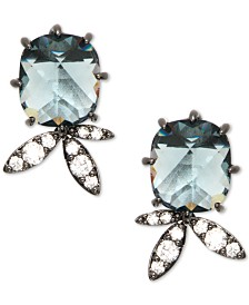 Jenny Packham Hematite-Tone Crystal & Stone Stud Earrings
