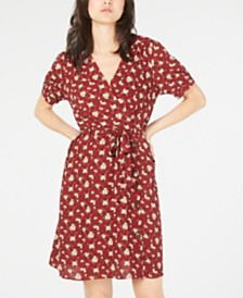 Monteau Petite Printed Faux-Wrap Dress