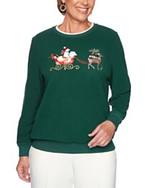 Alfred Dunner Classics  Embroidered Sleigh-Graphic Sweatshirt