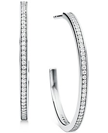 Medium Crystal Pavé Hoop Earrings 1-1/5""