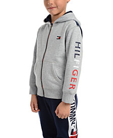 Tommy Hilfiger Little Boys Tim Icon Pieced Colorblocked Full-Zip Fleece Logo Hoodie