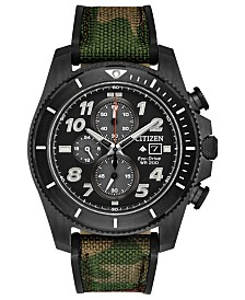 Citizen Eco-Drive Men's Chronograph Promaster Tough Camouflage Fabric Strap Watch 44mm