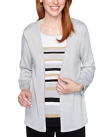 Alfred Dunner Classics Striped Metallic Layered-Look Sweater