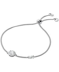Michael Kors Sterling Silver Cubic Zirconia Slider Bracelet