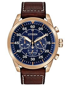 Eco-Drive Men's Chronograph Avion Brown Leather Strap Watch 48mm