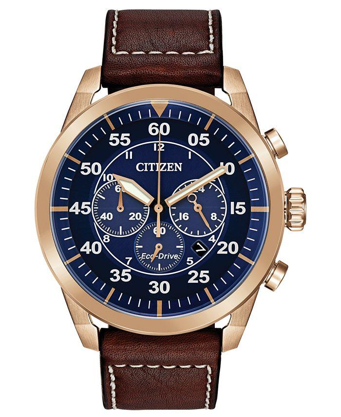 Citizen - Men's Chronograph Avion Brown Leather Strap Watch 48mm