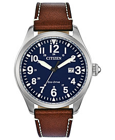 Citizen Eco-Drive Men's Chandler Brown Leather Strap Watch 42mm