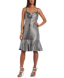 Nightway Metallic Flounce Midi Dress