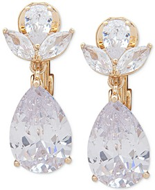 Gold-Tone Crystal E-Z Comfort Clip-On Earrings