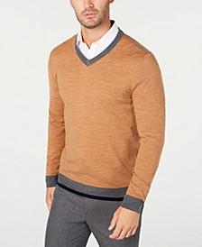 Men's Merino V-Neck Solid Sweater, Created for Macy's